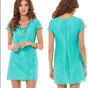 Lilly Pulitzer Teal Lace Erica Metallic Dress